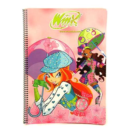 Sešit Winx Club Sešit A4 72 stránek čtverečky Bloom&Layla s deštníky