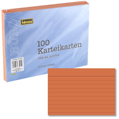 Kartoteční lístky A4 Idena linkovaný, oranžový