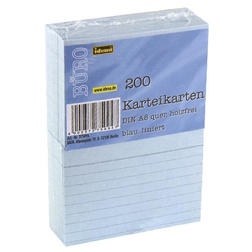 Idena Kartoteční lístky A8 200ks linkovaný, modrý