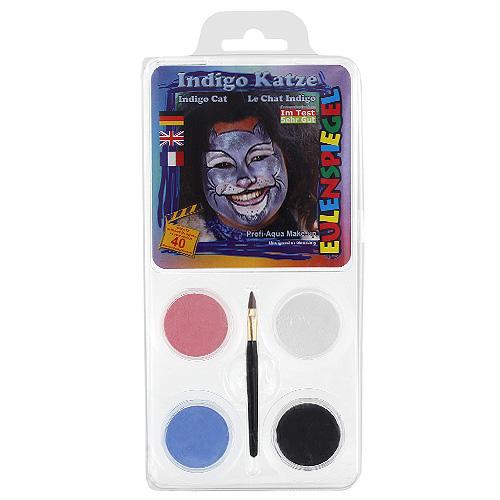 Barvy na obličej Eulenspiegel Barevné sady - Kočka Indigo