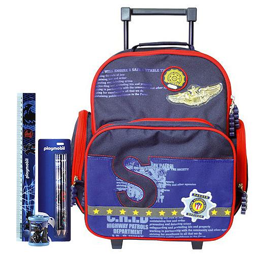 Školní batoh Cool trolley set motiv Playmobil: ořezávátko, pravítko, tužka