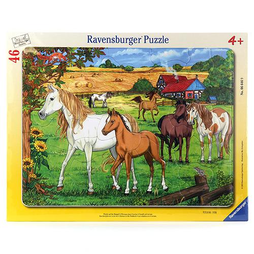 Rámové puzzle Ravensburger Koně, 46 dílků