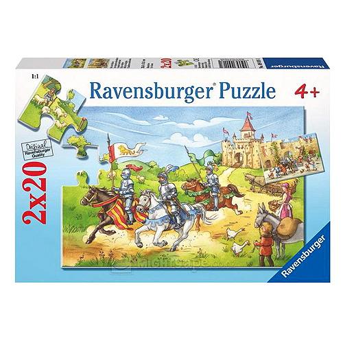 Puzzle Ravensburger Rytíři a zámek, 2 x 20 dílků