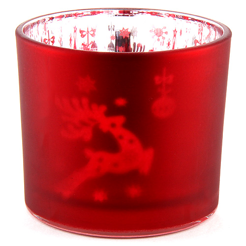 Idena Kalíšek na čajovou svíčku skleněný, červený