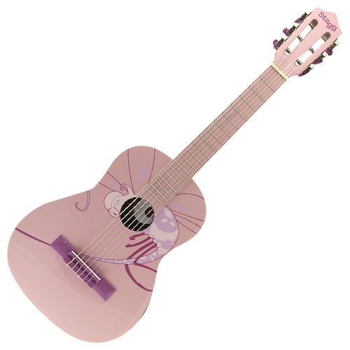 Klasická kytara Stagg růžová s motivem vážky