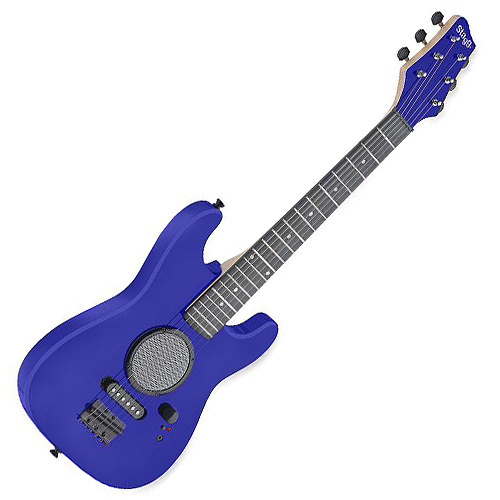 Dětská kytara Stagg se zabudovaným zesilovačem, modrá