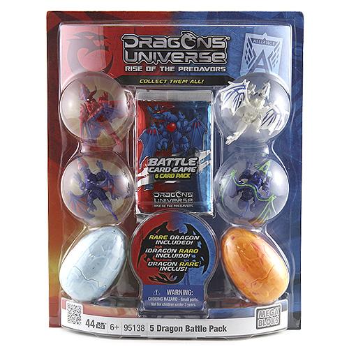 Stavebnice Dragons Universe Mega Bloks 2 mini dračí vejce mini, 4 draci a 6 karet, 44 dílků