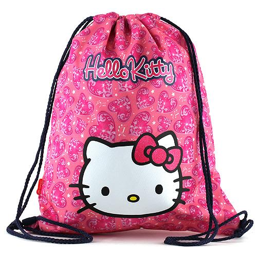 Hello Kitty Sportovní vak růžový, motiv srdce