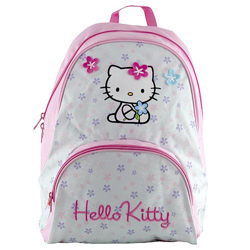 Batůžek Hello Kitty modrý, motiv květin