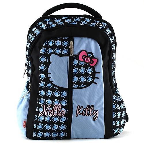 Školní batoh Hello Kitty modrý, motiv květin