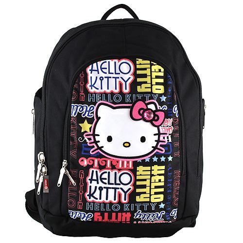 Školní batoh Hello Kitty černý s nápisy