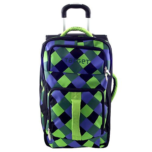 Cestovní taška Target černo-zeleno-modré kostky