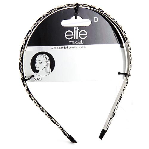 Čelenka s řetízkem Elite Models kovová, stříbrno/černá