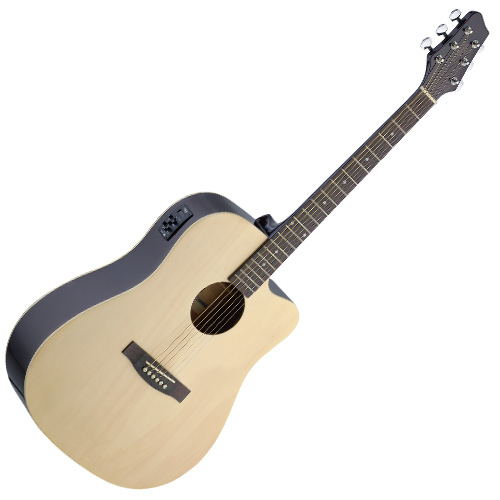 Elektro-akustická kytara Stagg typu Dreadnought s výkrojem