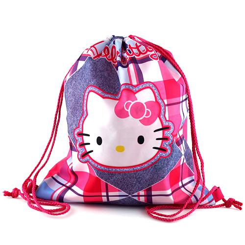 Sportovní vak Hello Kitty jeans, motiv kostky