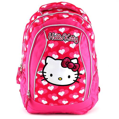 Školní batoh Hello Kitty růžový, motiv srdíček