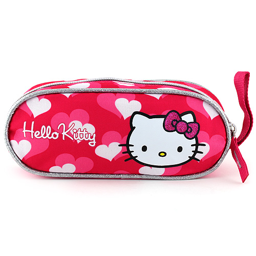 Školní penál Hello Kitty elipsovitý, růžový