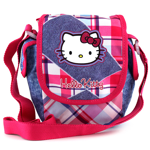 Kabelka přes rameno Hello Kitty jeans, motiv kostky