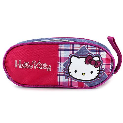 Školní penál Hello Kitty jeans, motiv kostky
