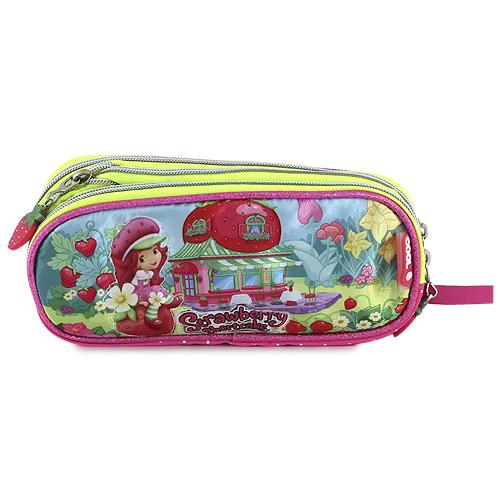 Školní penál Strawberry elipsovitý, motiv holčičky v zahradě