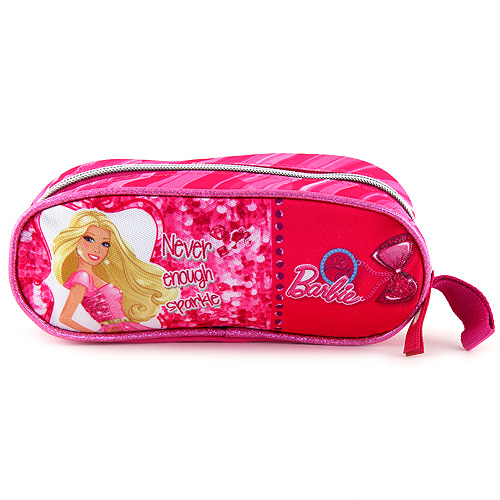 Školní penál Barbie elipsovitý, nápis never enough sparkle