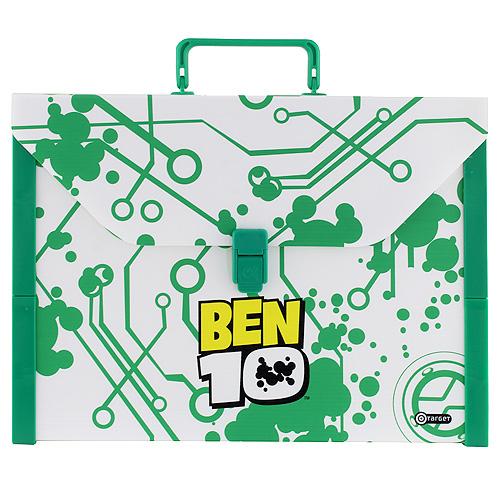 Kufřík Ben 10 velikost A4, zeleno/bílý, plastový