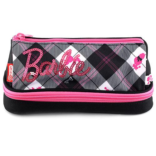 Školní penál bez náplně Barbie růžovo/černý s trojúhelníkovým motivem, spodní kapsa