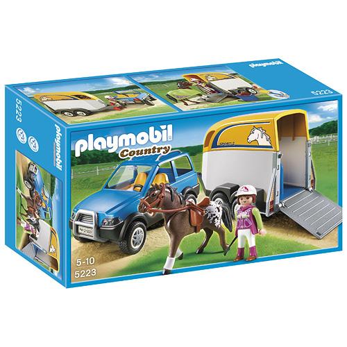 Terénní auto a přívěsem Playmobil panáček s koněm, 57 dílků