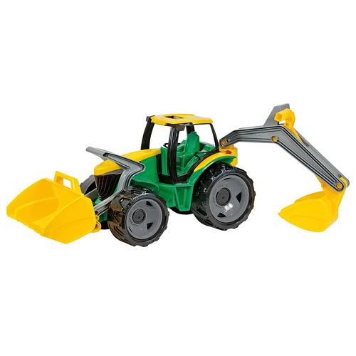 Traktor Lena Traktor se lžící a bagrem zeleno žlutý