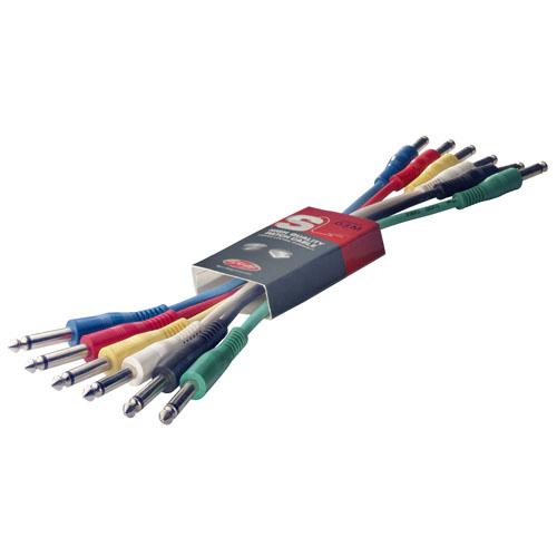 Propojovací mono kabely Stagg 6 ks x 30 cm, mix barev