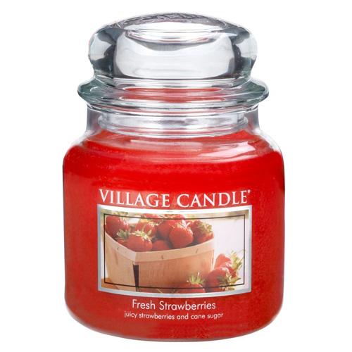 Svíčka ve skleněné dóze Village Candle Čerstvé jahody, 454 g