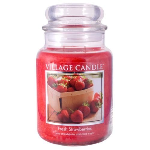 Svíčka ve skleněné dóze Village Candle Čerstvé jahody, 737 g