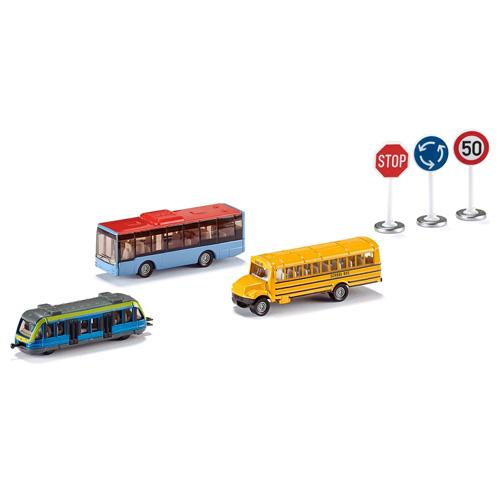 Městská vozidla SIKU 3x dopravní prostředek, 3x dopravní značka