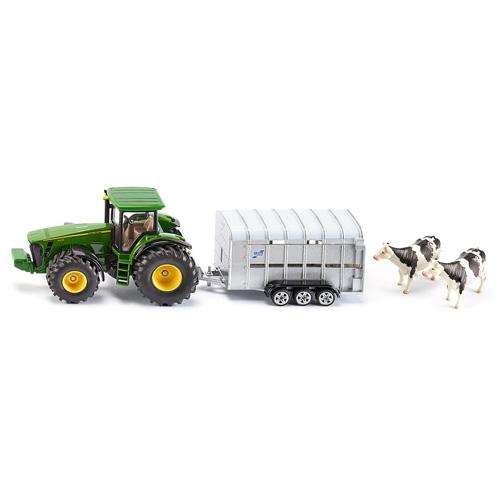 Traktor Siku John Deere - s přívěsem pro přepravu dobytka