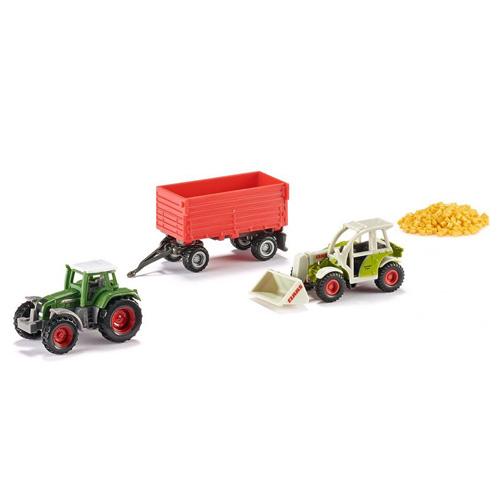 Zemědělské stroje SIKU 2x traktor, 1x přívěs, prkna