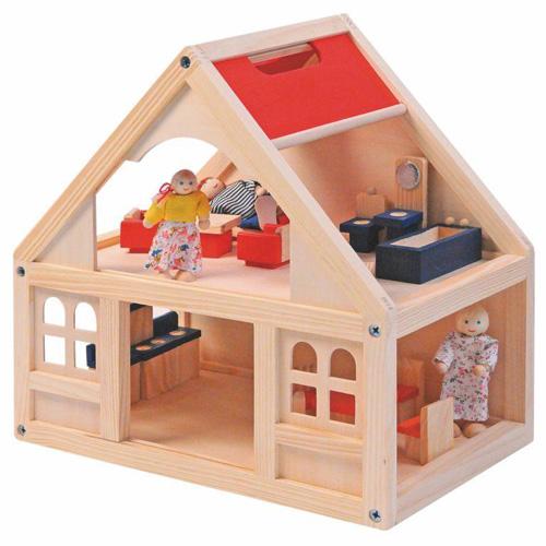 Domeček Woody 21 dílků - s nábytkem a panenkami