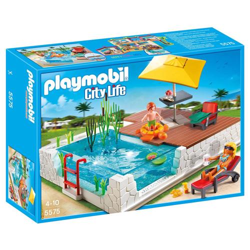 Zahradní bazén u vily Playmobil 2 panáčci s doplňky, 41 dílků