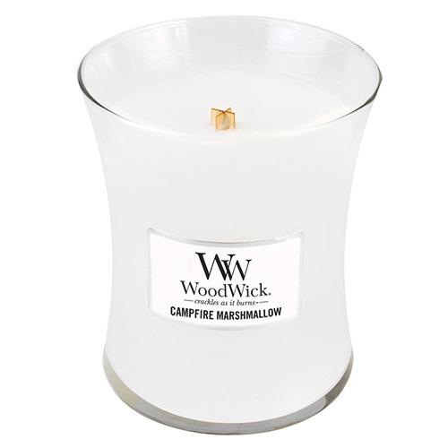 Svíčka oválná váza WoodWick Pěnové bonbóny na ohni, 275 g