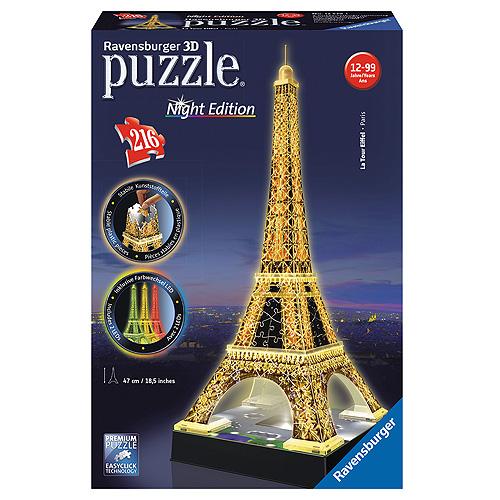 3D Puzzle Ravensburger Eiffelova věž, 216 dílků Noční edice
