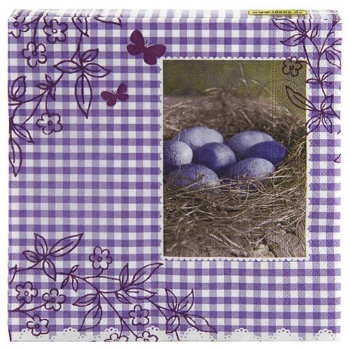 Ubrousky s velikonočním motivem Idena Fialové kostkování + hnízdo s fial. Vejci, 20ks