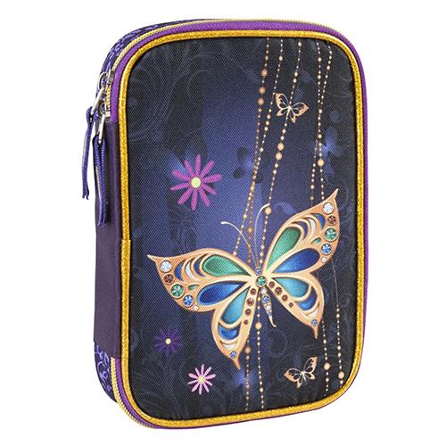 Školní penál s náplní Target Zlatý motýl, fialová