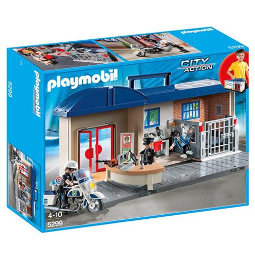 Policejní stanice Playmobil přenosná, 3 panáčci s doplňky, 69 dílků