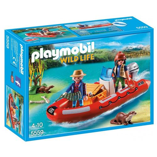 Nafukovací člun s pytláky Playmobil 2 panáčci a člun, 39 dílků