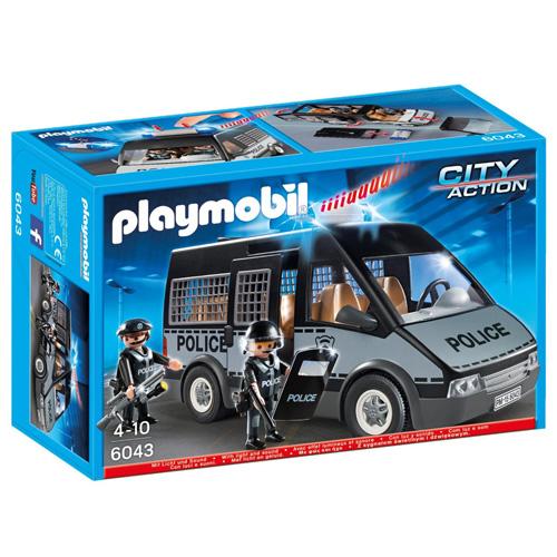 Policejní zásahový vůz Playmobil s majákem a houkačkou, 2 panáčci s doplňky, 56 dílků