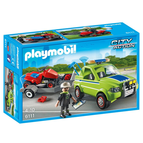 Zahradnický vůz se sekačkou Playmobil panáček se sekačkou a vozem, 61 dílků