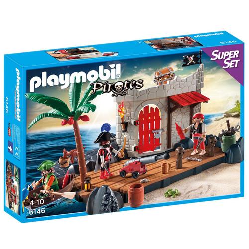 Super set Pirátská pevnost Playmobil 3 panáčci s doplňky, 122 dílků