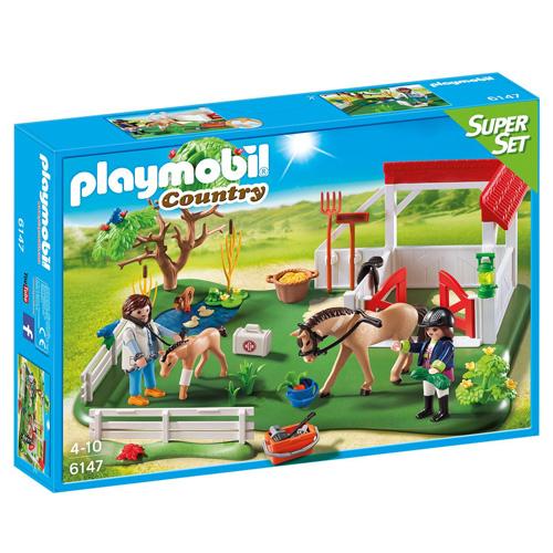 Super Set Padok s koněm Playmobil 2 panáčci s doplňky a kůň, 84 dílků
