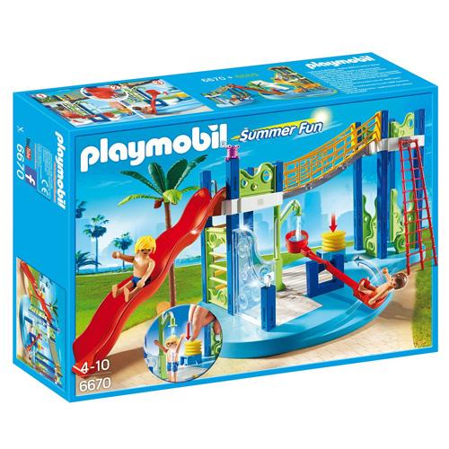 Vodní hřiště Playmobil Aquapark - skluzavka a 2 panáčci s doplňky, 101 dílků