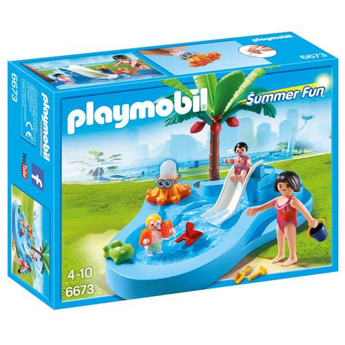 Dětský bazén Playmobil skluzavka a 3 panáčci s doplňky, 22 dílků