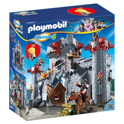 Přenosný hrad Černého barona Playmobil hrad, kůň a 3 panáčci s doplňky, 149 dílků